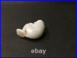 Old Carved Chinese White Jade Monkey Eating a Peach