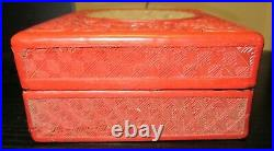 Old Chinese Carved Cinnabar Lacquer Carved Floral White Jade Enamel Box