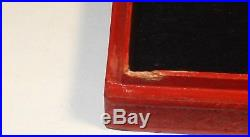 Old Chinese Carved Cinnabar Lacquer Floral White & Green Signed Jade Enamel Box
