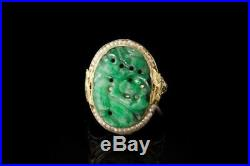 Old Chinese Carved Jadeite Seed Pearl 14k White Gold Bird Filigree Ring D97-04