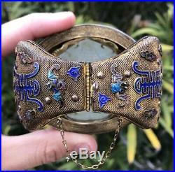 Old Chinese Gilt Silver Enamel Carved 3 God's White Translucent Jade Bracelet