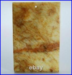 Old Chinese Jade Carved Plaque / Amulet / Pendant PALATIAL BRIDGE FISHES CLOUDS
