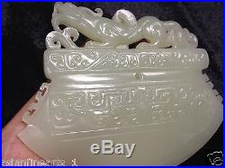 Old Chinese Nephrite Hetian White Jade Axe Carving Pendant Antique Stone Pure