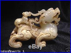 Old Chinese Nephrite Hetian White Jade Dragon Statue Carving Jade Skin! #153