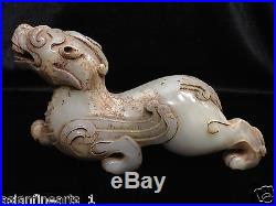 Old Chinese Nephrite Hetian White Jade Dragon Statue Carving with Jade Skin #135