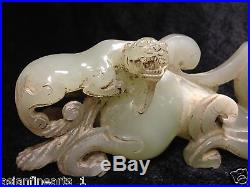 Old Chinese Nephrite Hetian White Jade Dragon Statue Carving with Jade Skin #155