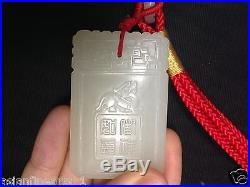 Old Chinese Nephrite Hetian White Jade Lucky Pendant Carving Lucky Charm Jeweley