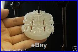Old Chinese Nephrite Hetian White Jade Stone Carving Amulet Pendant Antique Fine