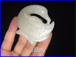 Old Chinese Nephrite Hetian White Jade Swan With Raised Carving Pendant #217