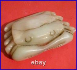 Old Chinese Nephrite Jade White Crab Hard Stone Pendant Carving Toggle 3