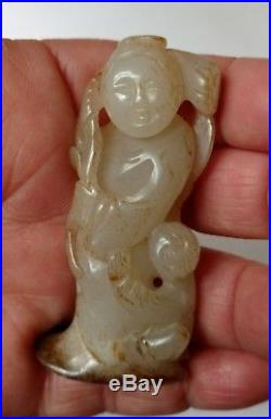 Old Chinese White Jade Carving of Figurines an Adult and a Boy