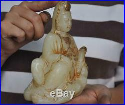 Old Chinese natural White jade Gilt Carved Ru Yi Kwan-Yin GuanYin Buddha statue