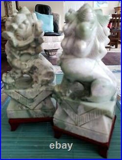 PAIR EXQUISITE HAND CARVED SIGNED ANTIQUE JADE FOO DOG LION STATUES With STANDS