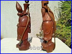 PAIR VINTAGE ORIENTAL CHINESE CARVED CHINAMAN FIGURINES TABLE LAMPS with SHADES