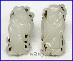Pair Antique Chinese Export Silver & Carved White Jade Figural Clips Signed BEE