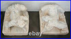 Pair of Hand Carved white stone Qilin Guardian statues