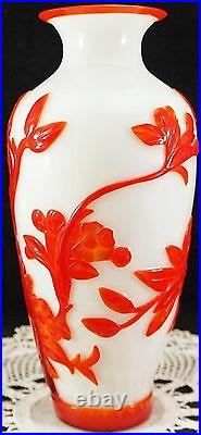 Peking Glass Overlay Carved Cameo Glass Vase Red 2 White Large Bird Flowers Etc