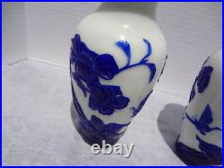 Peking Glass Overlay Carved Cameo Glass White Vases With Blue Cobalt Flowers