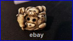 Polished Bovine Cow Bone Netsuke Antique / Old Fine Carving / Scrimshaw