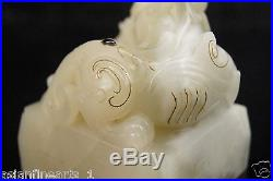 Qing Nephrite Hetian Old White Jade Dragon Carving Gem Seal Chinese Antique #640