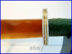 Quality green nephrite / white jadeite /jade & agate dagger sculpture on stand
