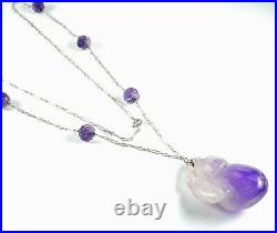 REDUCED-Rare Art Deco Chinese Carved Amethyst 14k White Gold Necklace-Long