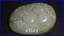 Rare Antique Chinese Hetian Pebble Jade Carving Butterfly Eat Three Peaches