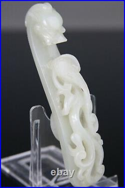 Rare! Antique Chinese Jade Nephrite Belt Hook White Carved Qing 18th 19th