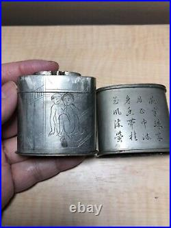 Rare Chinese Paktong White Brass Opium Box Signed Hand Carved W Hidden Container