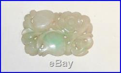 Rare Chinese White & Apple Green Carved Fruit Designs Jade Medallion Pendant