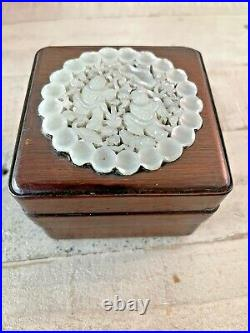 Rare Chinese Wood Tea Box Intricate White Jadeite Open Work Carving Top