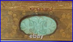 Rare Old Carved Agate White Jade Turquoise Rose Quart Metal Trinket Jar Box