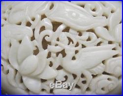 Rare Old Chinese Silver Gilt Intricate Pierce Carved Bird Celadon White Jade Box