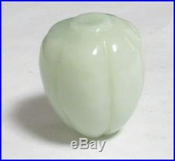 Rare Solid Hand Carved White Celadon Jade Blossom Fruit Stone