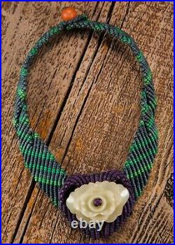 Rare, carved, Unique white jade and woven necklace