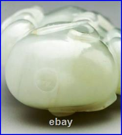 S008 estate Chinese carved white jade double gourd snuff bottle. 19th Century