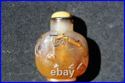 S016 Antique Estate Chinese well-carved agate snuff bottle 20th Century