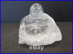 S38 Vintage Carved White Quartz Chinese Oriental Buddha Stone Statue Figurine