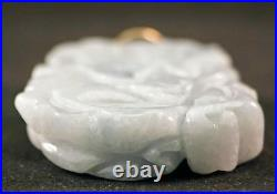 STUNNING White / Pale Blue Carved Jade Pendant with Gold Bale Very Thick Stone