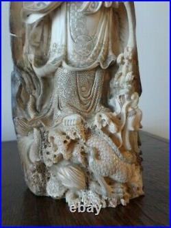 SUPERB ANTIQUE CHINESE CARVED LADY GUANYIN With DRAGON c. 1800