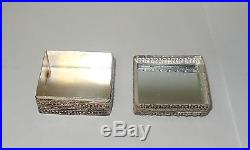 Silver White Metal Carved Imperial Green And White Jade Mirror Trinket Jar Box