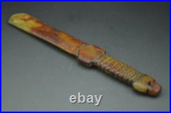 Stunning Chinese Ancient Nephrite White Jade Carving Ritual Sword Talisman