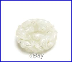 Superb Large Vintage Chinese Hetian White Jade Finely Carved Bat Pendant