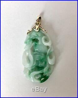 Superb Unusual VTG Green/White Jadeite Jade Carved 14k YG Pendant witho Chain New