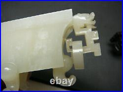 Unusual carved Chinese white jade covered vase original wood stand 18th 19th C