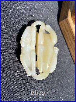 VINTAGE CHINESE WHITE Cream Carved JADE Two Dogs PENDANT