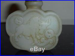 Very Fine Antique Chinese White Jade Carved Snuff Bottle
