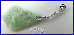 Vintage 14k white gold & Chinese carved jade/ sapphire dangle earrings