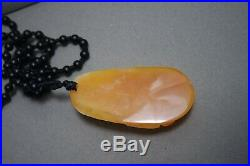 Vintage Antique Chinese Jade White Light Brown Carved Koi Fish Pendant Necklace