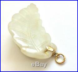 Vintage Antique Chinese White Pale JADE Carving Cat On A Leaf Pendant 14K Gold